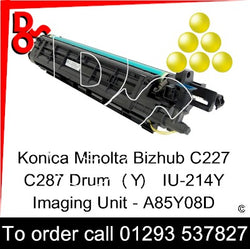 Konica Minolta Bizhub C227 C287 Drum (Y) Yellow IU-214Y Imaging Unit - A85Y08D   next day UK Nationwide call 01293 537827