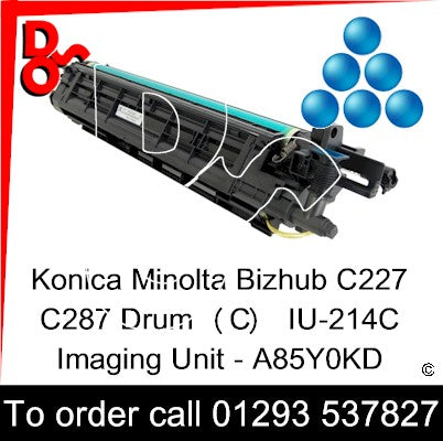 Konica Minolta Bizhub C227 C287 Drum (C)  Cyan IU-214C Imaging Unit - A85Y0KD UK Next day delivery