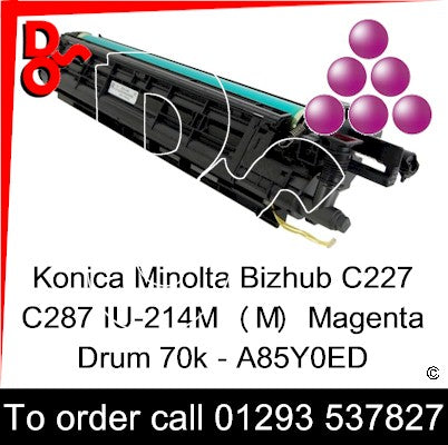 Konica Minolta Bizhub C227 C287 Drum (M) Magenta IU-214M Imaging Unit - A85Y0ED   next day UK Nationwide call 01293 537827