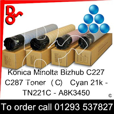 Konica Minolta Bizhub C227 C287 Premium Compatible Toner Cartridge  (C) Cyan 21k TN221C – A8K3450   next day UK Nationwide call 01293 537827