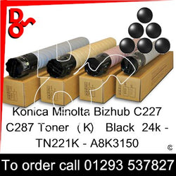 Konica Minolta Bizhub C227 C287 Premium Compatible Toner Cartridge  (K) Black 24k TN221K – A8K3150   next day UK Nationwide call 01293 537827