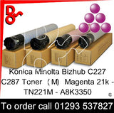 Konica Minolta Bizhub C227 C287 Premium Compatible Toner Cartridge  (M) Magenta 21k TN221M – A8K3350  next day UK Nationwide call 01293 537827