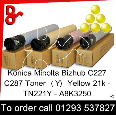 Konica Minolta Bizhub C227 C287 Genuine Toner Cartridge  (Y) Yellow 21k TN221Y – A8K3250  next day UK Nationwide call 01293 537827