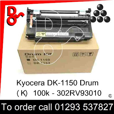 Kyocera DK-1150 Drum (K) Black 100k Genuine - 302RV93010 UK next week day delivery