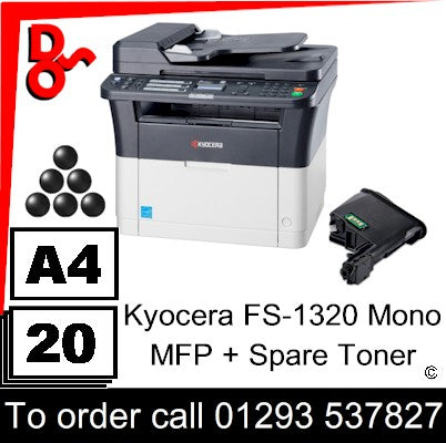 """Special Offer"" NEW Kyocera FS-1320 Mono Multi-Funtion A4 Printer & Colour Scanner plus spare Toner Cartridge UK Next day delivery Crawley West Sussex and Surrey"