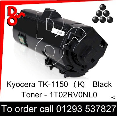 Kyocera TK-1150 P2235, M2135, M2635, M2735 Premium Compatible Toner Cartridge (K) Black 3k 1T02RV0NL0 next day UK Nationwide call 01293 537827