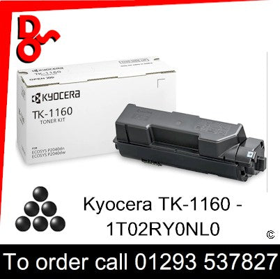 Kyocera TK-1160 Toner (K) Black 7.2k Genuine Cartridge - 1T02RY0NL0 UK next week day delivery
