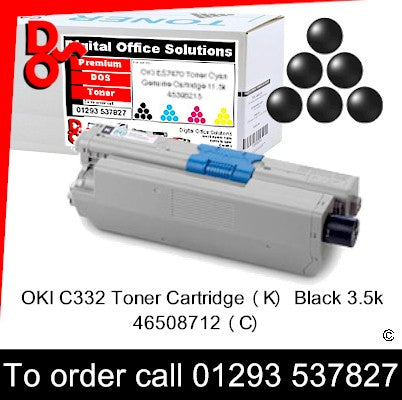 OKI C332, MC363 Premium Compatible Toner Cartridge (K) Black 3.5k 46508712 next day UK Nationwide call 01293 537827