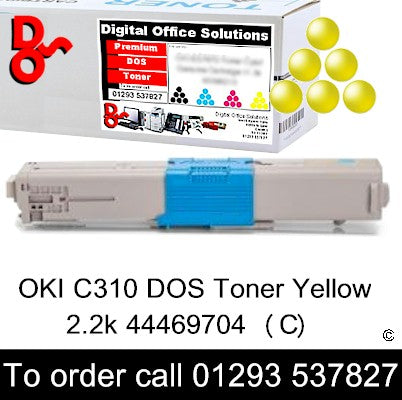 DOS OKI C310 Yellow Toner Cartridge 2k 44469704 Quality Guaranteed