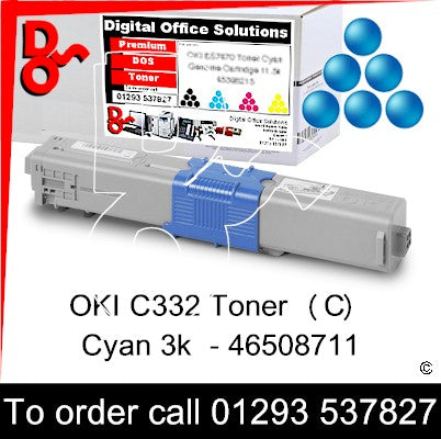 OKI C332, MC363 Premium Compatible Toner Cartridge (C) Cyan 3k 46508711 next day UK Nationwide call 01293 537827
