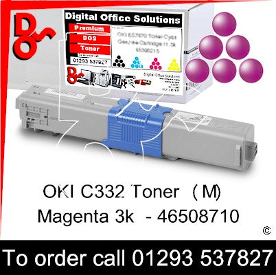 OKI C332, MC363 Premium Compatible Toner Cartridge (M) Magenta 3k 46508710 next day UK Nationwide call 01293 537827
