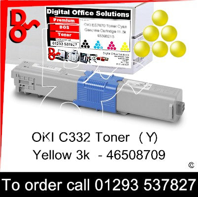 OKI C332, MC363 Premium Compatible Toner Cartridge (Y) Yellow 3k 46508709 next day UK Nationwide call 01293 537827