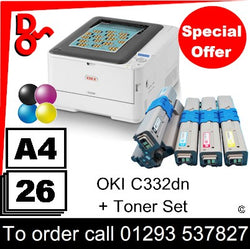 """Special Offer"" NEW OKI C332dn A4 Printer Colour LED Laser Printer - 46553101 + spare toner set"