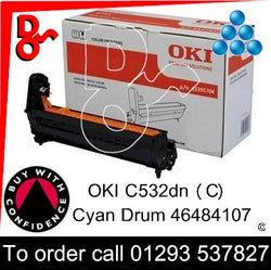 OKI C532 Drum (C) Cyan 30k Genuine OKI Drum EP Cartridge - 46484107 UK next day delivery Crawley West Sussex and Surrey