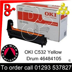 OKI C532 Drum (Y) Yellow 30k Genuine OKI Drum EP Cartridge - 46484105 UK next day delivery Crawley West Sussex and Surrey