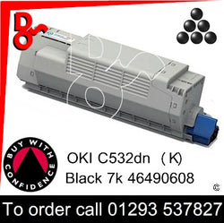 OKI C532, C542, MC563, MC573 Premium Compatible Toner Cartridge (K) Black 7k 46490608 next day UK Nationwide call 01293 537827