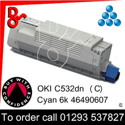 OKI C532, C542, MC563, MC573 Premium Compatible Toner Cartridge (C) Cyan 6k 46490607 next day UK Nationwide call 01293 537827
