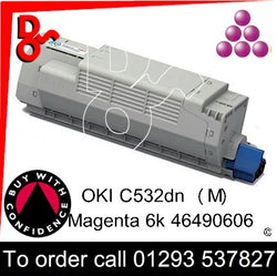 OKI C532, C542, MC563, MC573 Premium Compatible Toner Cartridge (M) Magenta 6k 46490606 next day UK Nationwide call 01293 537827