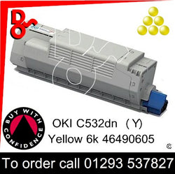OKI C532, C542, MC563, MC573 Premium Compatible Toner Cartridge (Y) Yellow 6k 46490605 next day UK Nationwide call 01293 537827