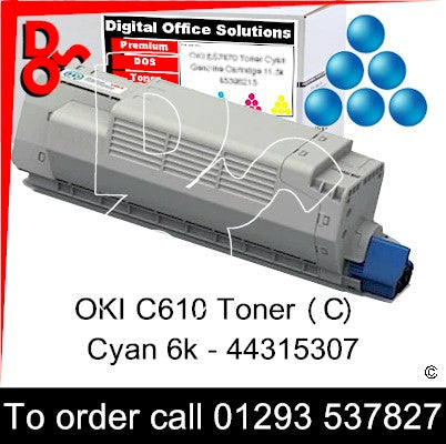 OKI C610 Premium Compatible Toner Cartridge (C) Cyan 6k 44315307 next day UK Nationwide call 01293 537827