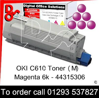 OKI C610 Premium Compatible Toner Cartridge (M) Magenta 6k 44315306 next day UK Nationwide call 01293 537827