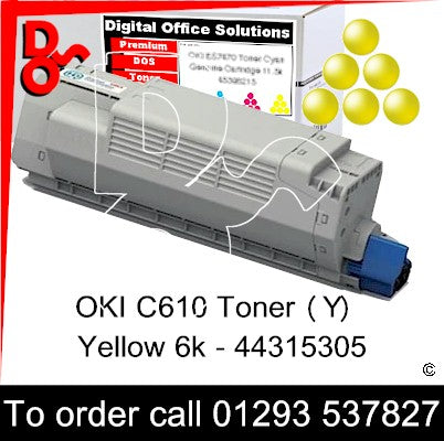 OKI C610 Premium Compatible Toner Cartridge (Y) Yellow 6k 44315305 next day UK Nationwide call 01293 537827