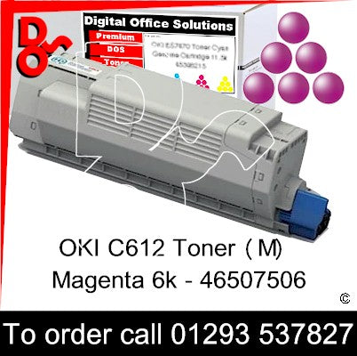 OKI C612 Premium Compatible Toner Cartridge (M) Magenta 6k 46507506 next day UK Nationwide call 01293 537827