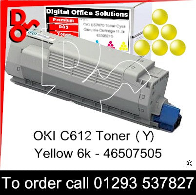 OKI C612 Premium Compatible Toner Cartridge (Y) Yellow 6k 46507505 next day UK Nationwide call 01293 537827