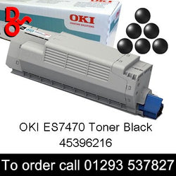 OKI ES7470 Black Genuine Original Toner Cartridge sales 45396216, 7k yield, in stock, nationwide next day delivery reliable cartridges Reliable delivery every time