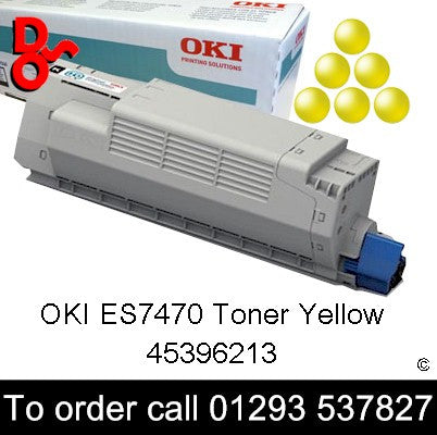 OKI ES7470 Yellow Genuine Original Toner Cartridge sales 45396213, 11.5k yield, in stock, nationwide next day delivery reliable cartridges Reliable delivery every time