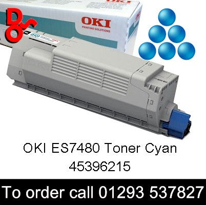 OKI ES7480 Toner 45396215 Cyan Genuine OKI Executive Series Toner Cartridge for sale Crawley West Sussex and Surrey, 11.5k yield, in stock, nationwide next day delivery reliable cartridges Reliable delivery every time