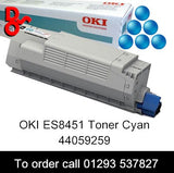 OKI ES8451 Toner 44059259 Cyan Genuine OKI Executive Series Toner Cartridge for sale Crawley West Sussex and Surrey