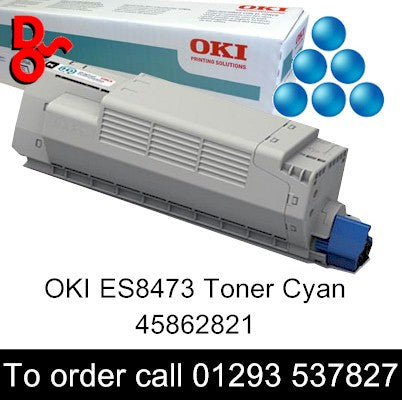 OKI ES8453 Toner 45862821 Cyan Genuine OKI Executive Series Toner Cartridge for sale Crawley West Sussex and Surrey