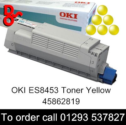 OKI ES8453 Toner 45862819 Yellow Genuine OKI Executive Series Toner Cartridge for sale Crawley West Sussex and Surrey