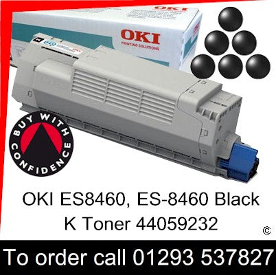 OKI ES8460 Toner 44059232 Black Genuine OKI ES-8460 Executive Series K Toner Cartridge for sales, in stock at our Crawley warehouse today for fast, UK wide delivery with a 12 month guarantee
