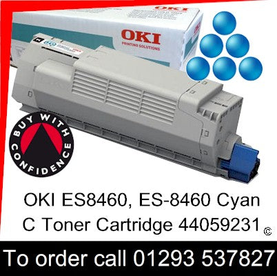 OKI ES8460 Toner 44059231 Cyan Genuine OKI ES-8460 Executive Series C Toner Cartridge for sale, in stock at our Crawley warehouse today, for fast UK wide delivery with a 12 month guarantee