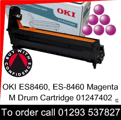 OKI ES8460 Drum 01247402 Magenta Genuine OKI ES-8460 Executive Series M EP Cartridge for sale, in stock at our Crawley warehouse today for fast, UK wide delivery with a 12 month guarantee