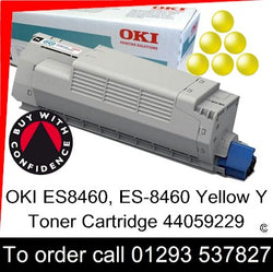 OKI ES8460 Toner 44059229 Yellow Genuine OKI ES-8460 Executive Series Y Toner Cartridge for sale, in stock at our Crawley warehouse today for fast, UK wide delivery with a 12 month guarantee