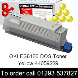 OKI ES8460 Yellow DOS Toner Cartridge sales 44059229, 10k yield, in stock, nationwide next day delivery reliable cartridges Reliable delivery every time