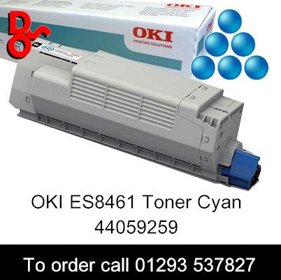 OKI ES8461 Toner 44059259 Cyan Genuine OKI Executive Series Toner Cartridge for sale Crawley West Sussex and Surrey, Call 01293 537827 to order Toner OKI ES8461 Cyan Genuine Toner Cartridge sales 44059259, 9k yield, in stock, nationwide next day deliver