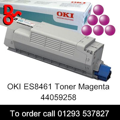 OKI ES8461 Toner 44059258 Magenta Genuine OKI Executive Series Toner Cartridge for sale Crawley West Sussex and Surrey, OKI ES8461 Magenta Genuine Original Toner Cartridge sales 44059258, 9k yield, in stock, nationwide next day delivery reliable cartridges Reliable delivery every time