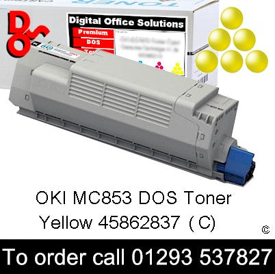 OKI MC853 Toner 45862837 Yellow Premium Compatible Toner Cartridge Quality Guaranteed for sale Crawley West Sussex and Surrey