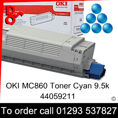 OKI MC860 Toner 44059211 Cyan Genuine OKI Toner Cartridge for sale Crawley West Sussex and Surrey
