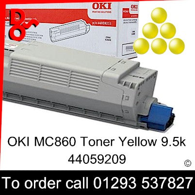 OKI MC860 Toner 44059209 Yellow Genuine OKI Toner Cartridge for sale Crawley West Sussex and Surrey