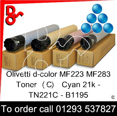 Olivetti d-color MF223 MF283 Premium Compatible Toner Cartridge  (C) Cyan 21k TN221C – B1195   next day UK Nationwide call 01293 537827