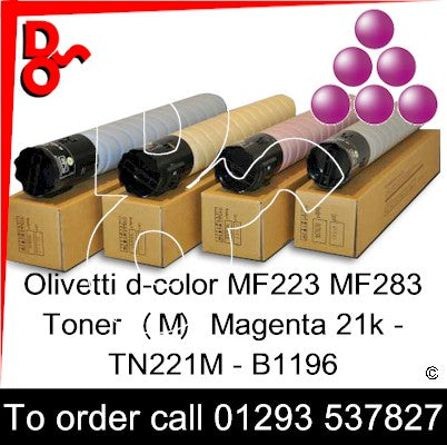 Olivetti d-color MF223 MF283 Premium Compatible Toner Cartridge  (M) Magenta 21k TN221M – B1196   next day UK Nationwide call 01293 537827