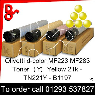 Olivetti d-color MF223 MF283 Premium Compatible Toner Cartridge  (Y) Yellow 21k TN221Y – B1197   next day UK Nationwide call 01293 537827