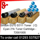 Sindoh D310 / D311 Genuine Toner Cartridge (C) Cyan 20k 72001005 next day UK Nationwide call 01293 537827
