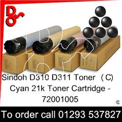 Sindoh D310 Genuine Toner Cartridge (K) Black 24k 72001004 next day UK Nationwide call 01293 537827