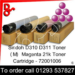 Sindoh D310 D311 Toner (M) Magenta 20k Genuine Sindoh Toner Cartridge - 72001006 for sale Crawley West Sussex and Surrey next day UK Nationwide delivery